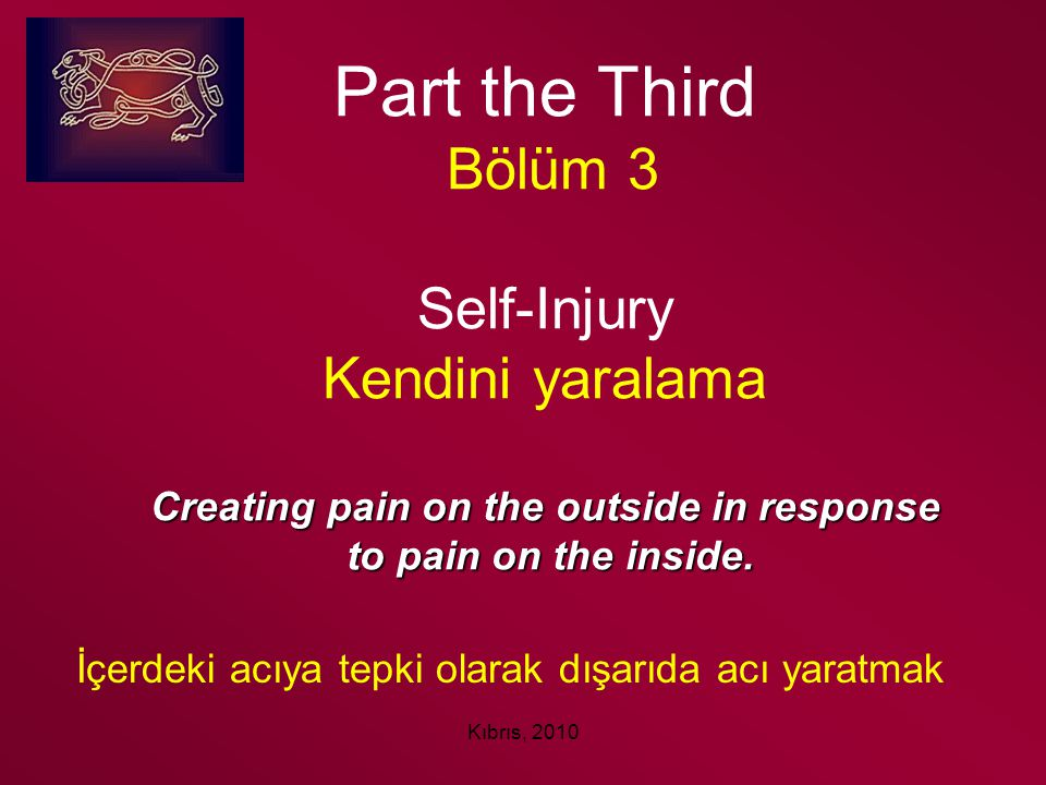 Part the Third Bölüm 3 Self-Injury Kendini yaralama Creating pain on the outside in response to pain on the inside.