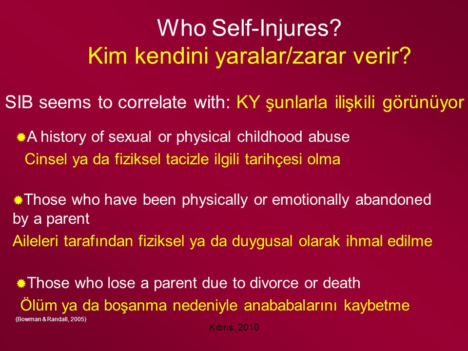 Who Self-Injures Kim kendini yaralar/zarar verir