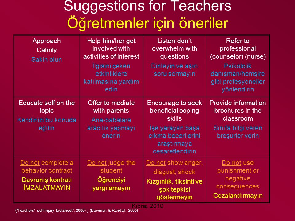 Suggestions for Teachers Öğretmenler için öneriler