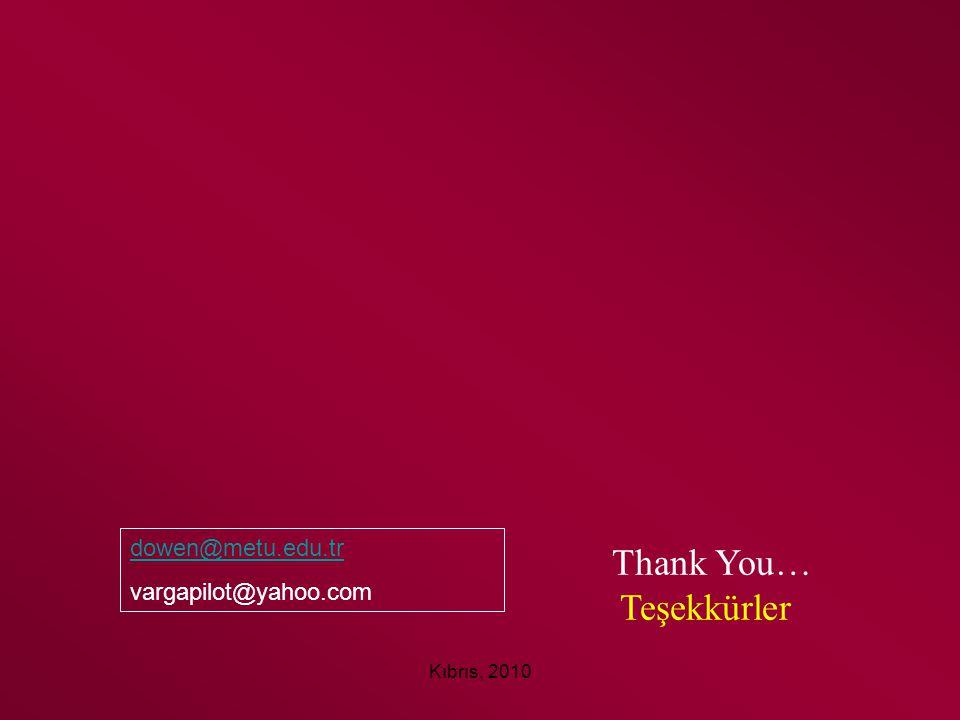 Thank You… Teşekkürler dowen@metu.edu.tr vargapilot@yahoo.com