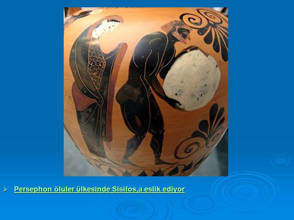 Persephon öluler ülkesinde Sisifos,a eslik ediyor
