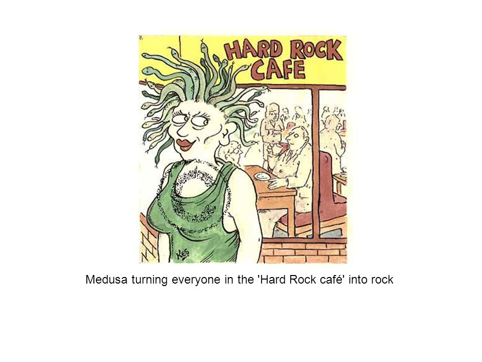 Medusa turning everyone in the Hard Rock café into rock