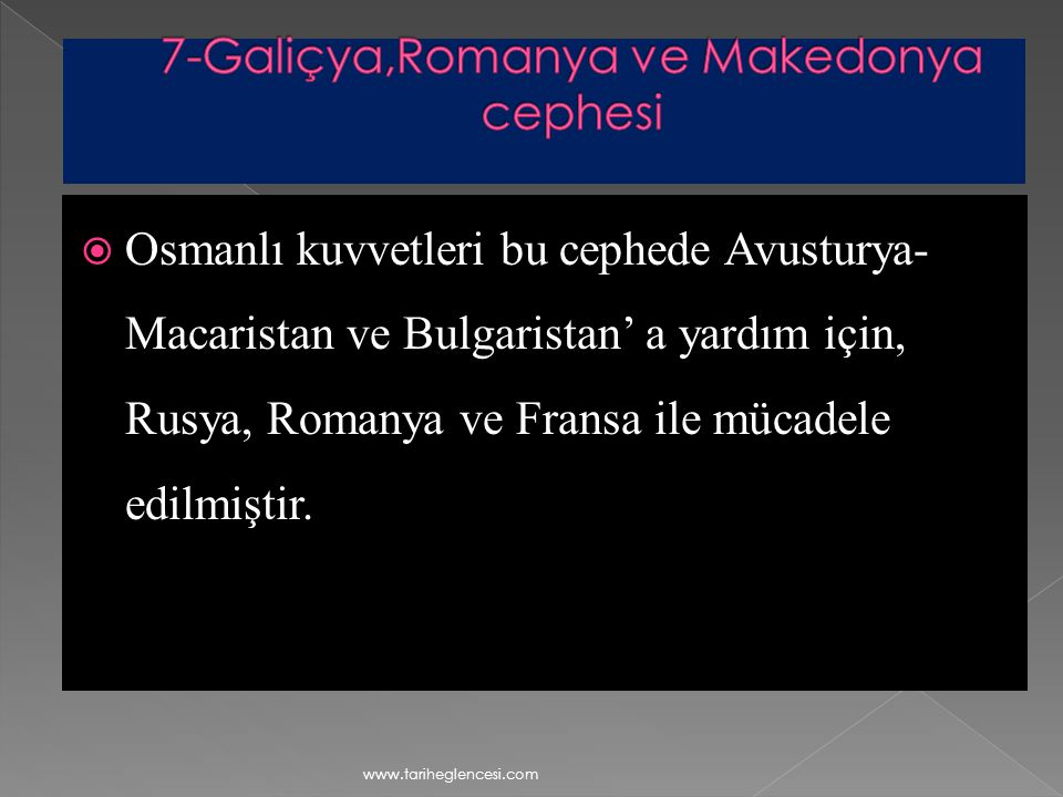7-Galiçya,Romanya ve Makedonya cephesi