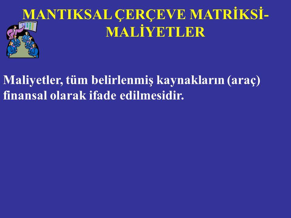 MANTIKSAL ÇERÇEVE MATRİKSİ-MALİYETLER