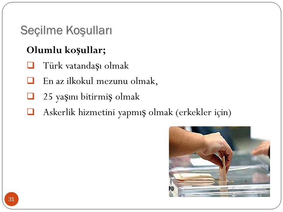 Seçilme Koşulları Olumlu koşullar; Türk vatandaşı olmak