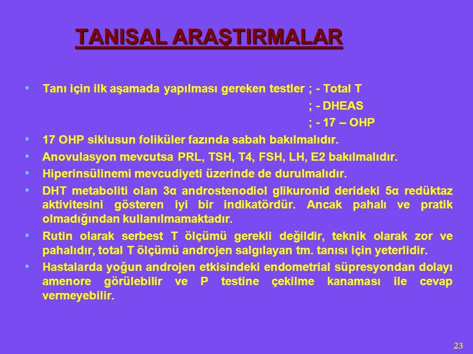 4/5/2017 TANISAL ARAŞTIRMALAR. Tanı için ilk aşamada yapılması gereken testler ; - Total T. ; - DHEAS.