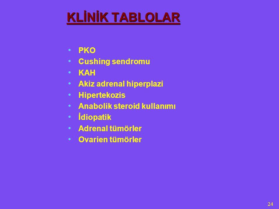 KLİNİK TABLOLAR PKO Cushing sendromu KAH Akiz adrenal hiperplazi