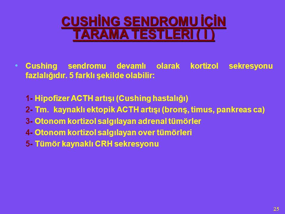 CUSHİNG SENDROMU İÇİN TARAMA TESTLERİ ( I )