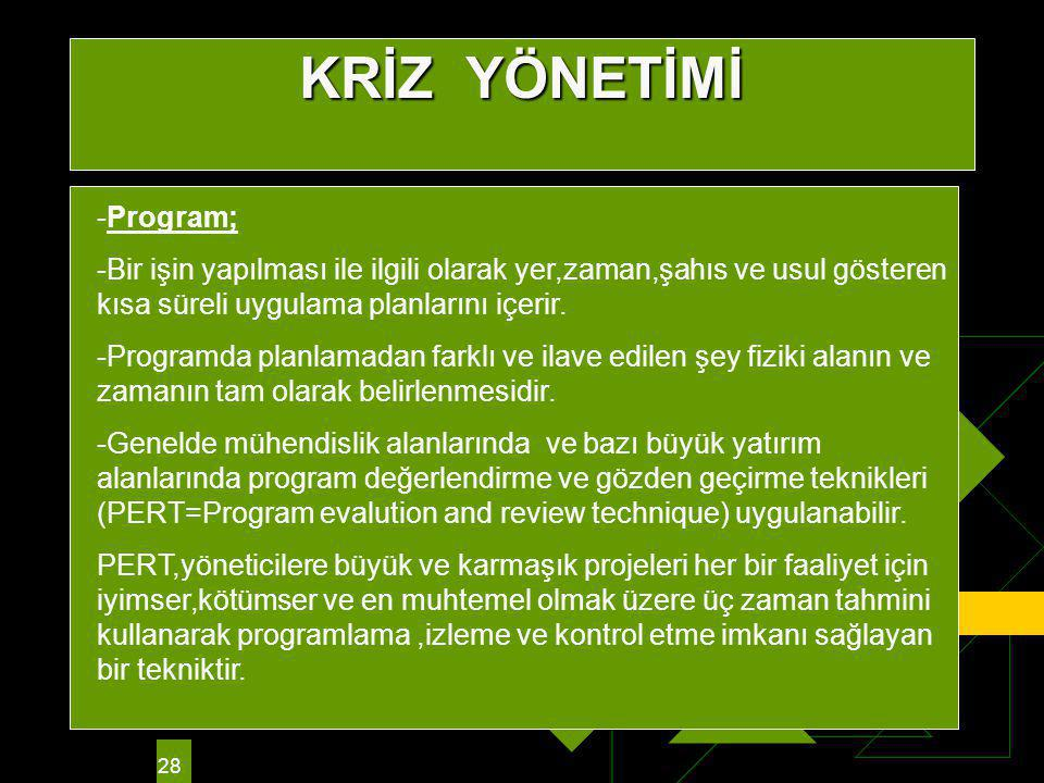 KRİZ YÖNETİMİ -Program;