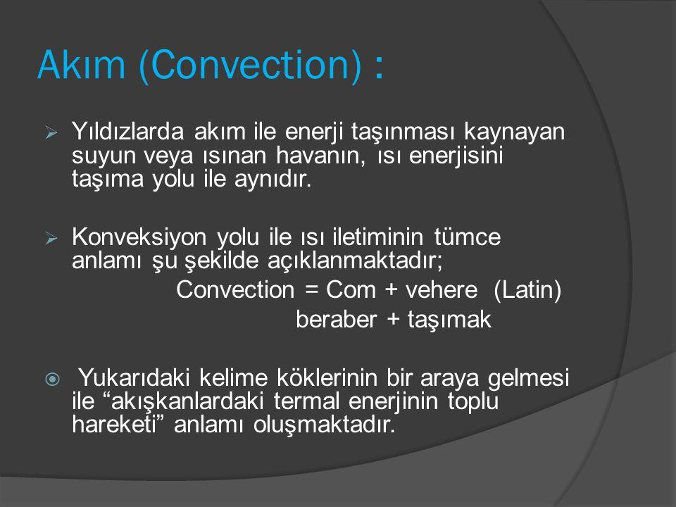 Akım (Convection) : Yıldızlarda akım ile enerji taşınması kaynayan suyun veya ısınan havanın, ısı enerjisini taşıma yolu ile aynıdır.