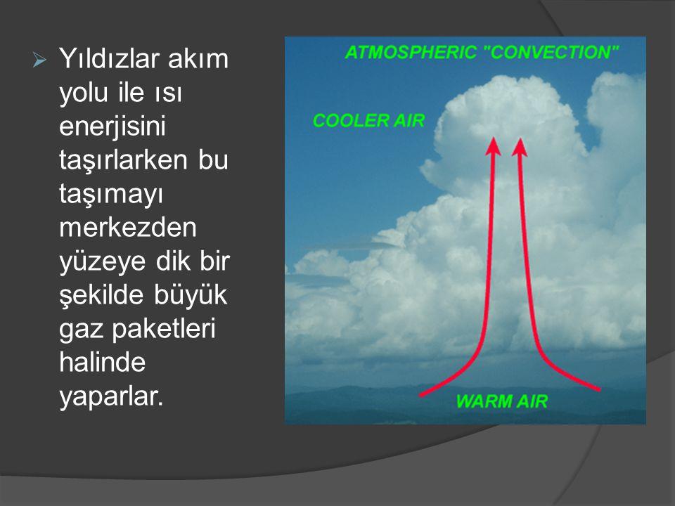 Yıldızlar akım yolu ile ısı enerjisini taşırlarken bu taşımayı merkezden yüzeye dik bir şekilde büyük gaz paketleri halinde yaparlar.