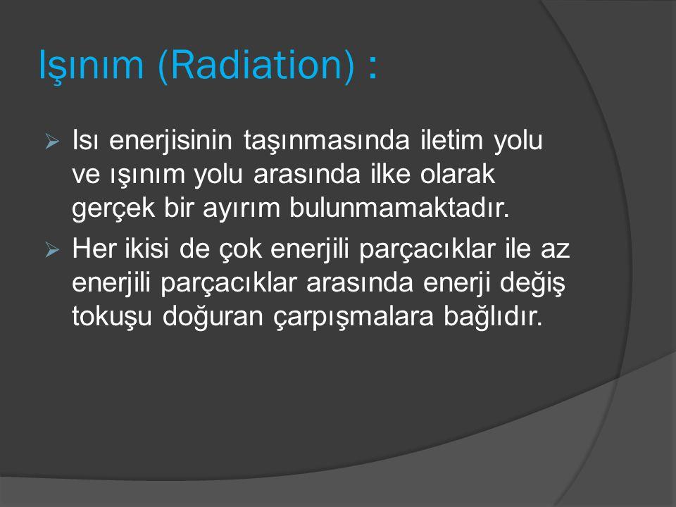 Işınım (Radiation) : Isı enerjisinin taşınmasında iletim yolu ve ışınım yolu arasında ilke olarak gerçek bir ayırım bulunmamaktadır.