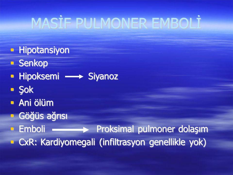 MASİF PULMONER EMBOLİ Hipotansiyon Senkop Hipoksemi Siyanoz Şok