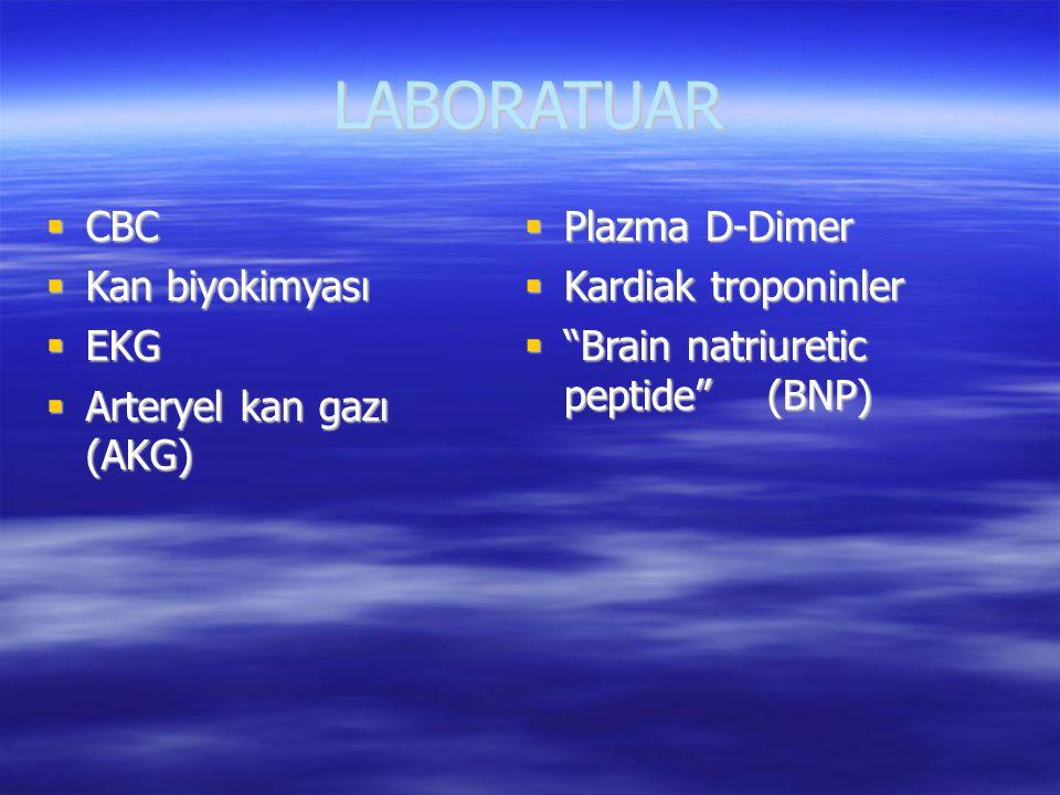 LABORATUAR CBC Kan biyokimyası EKG Arteryel kan gazı (AKG)