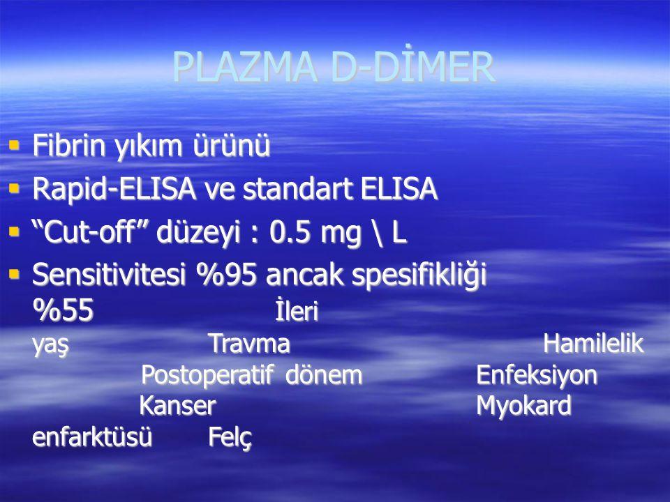 PLAZMA D-DİMER Fibrin yıkım ürünü Rapid-ELISA ve standart ELISA