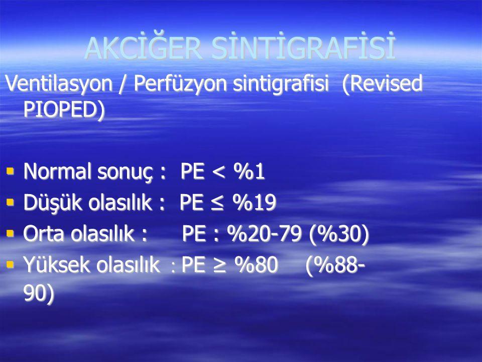 AKCİĞER SİNTİGRAFİSİ Ventilasyon / Perfüzyon sintigrafisi (Revised PIOPED) Normal sonuç : PE < %1.