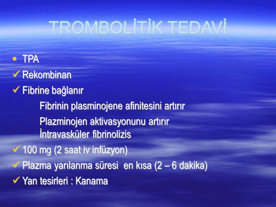 TROMBOLİTİK TEDAVİ TPA Rekombinan Fibrine bağlanır