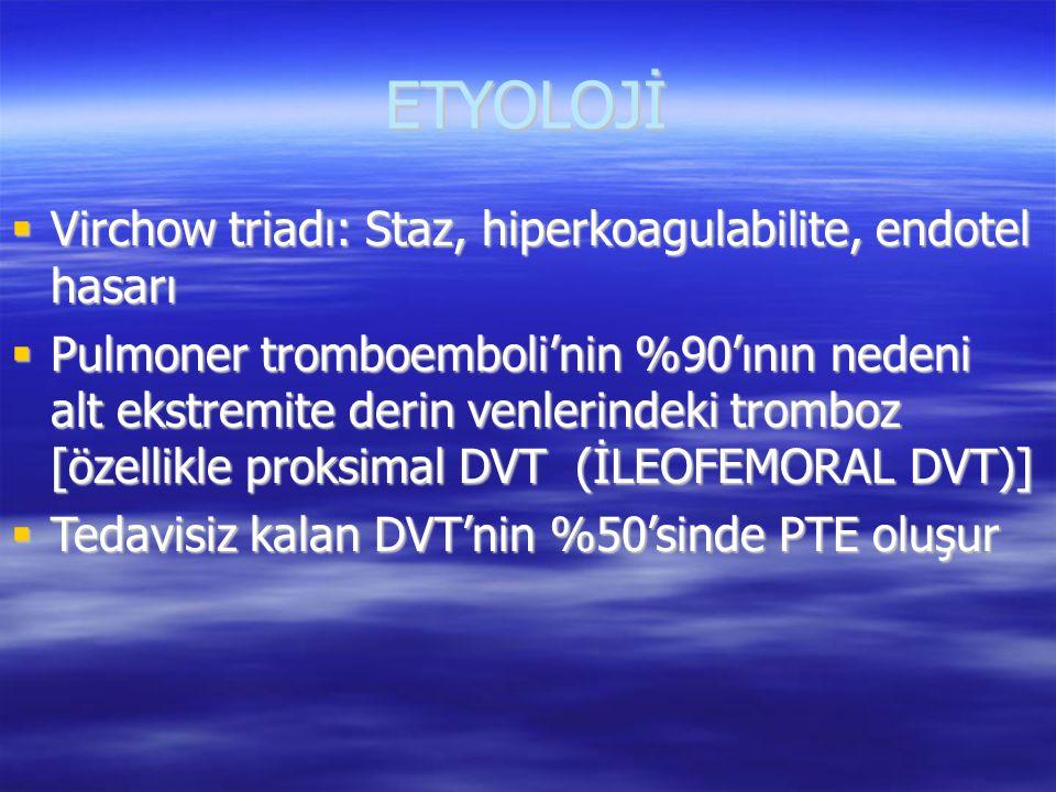 ETYOLOJİ Virchow triadı: Staz, hiperkoagulabilite, endotel hasarı