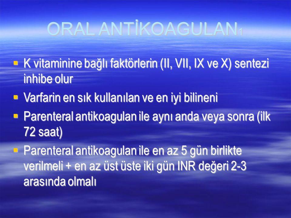 ORAL ANTİKOAGULAN1 K vitaminine bağlı faktörlerin (II, VII, IX ve X) sentezi inhibe olur. Varfarin en sık kullanılan ve en iyi bilineni.