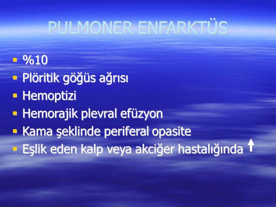 PULMONER ENFARKTÜS %10 Plöritik göğüs ağrısı Hemoptizi