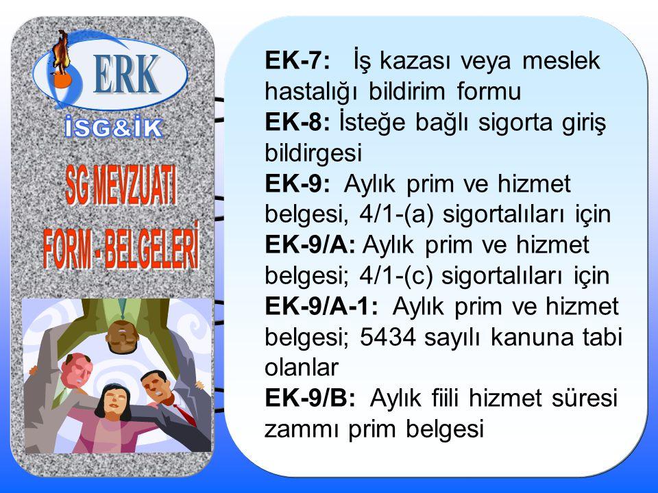 EK-7: İş kazası veya meslek hastalığı bildirim formu