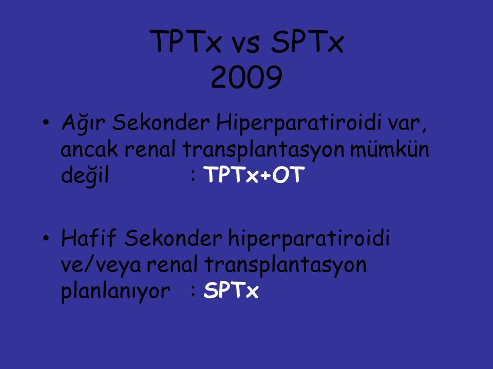 TPTx vs SPTx 2009. Ağır Sekonder Hiperparatiroidi var, ancak renal transplantasyon mümkün değil : TPTx+OT.