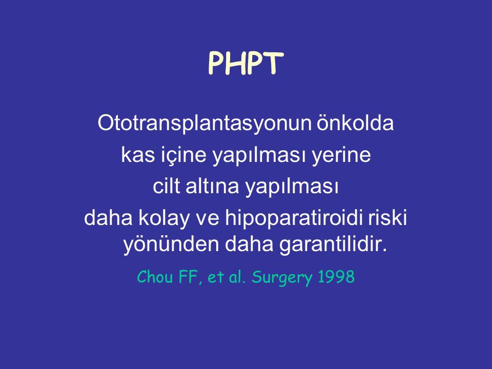 PHPT Ototransplantasyonun önkolda kas içine yapılması yerine
