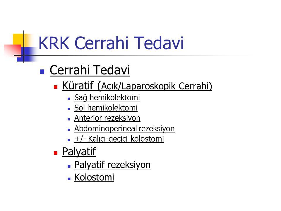 KRK Cerrahi Tedavi Cerrahi Tedavi Küratif (Açık/Laparoskopik Cerrahi)
