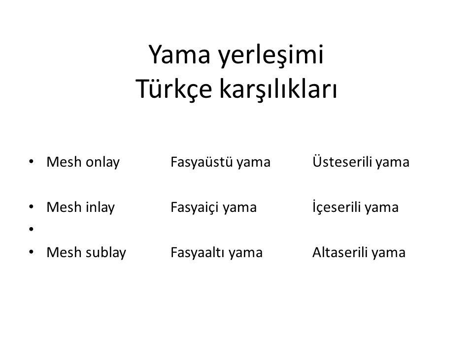 Yama yerleşimi Türkçe karşılıkları