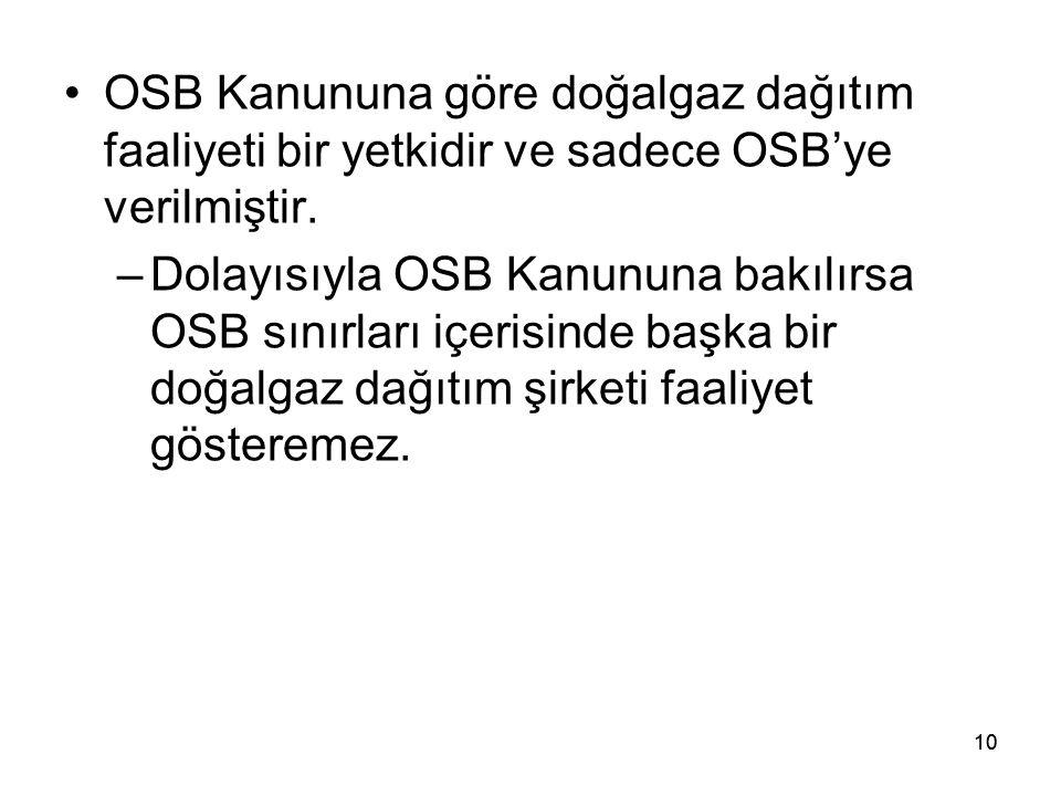 OSB Kanununa göre doğalgaz dağıtım faaliyeti bir yetkidir ve sadece OSB'ye verilmiştir.