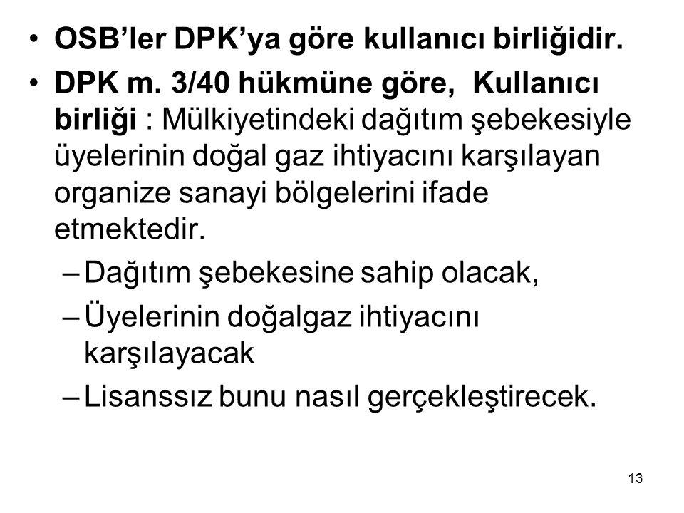 OSB'ler DPK'ya göre kullanıcı birliğidir.