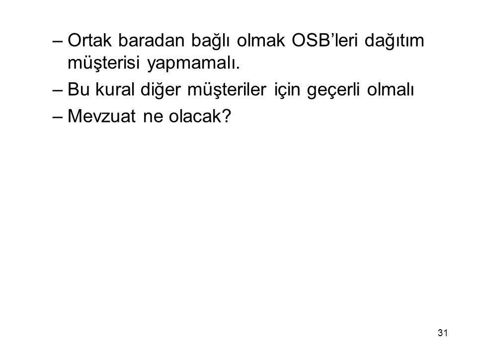 Ortak baradan bağlı olmak OSB'leri dağıtım müşterisi yapmamalı.