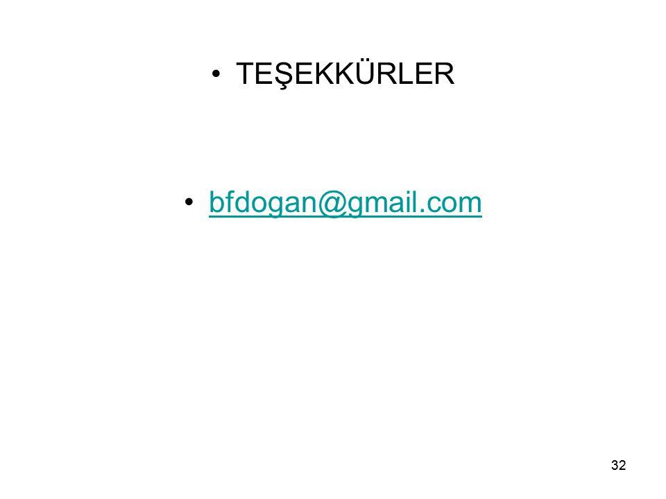 TEŞEKKÜRLER bfdogan@gmail.com 32