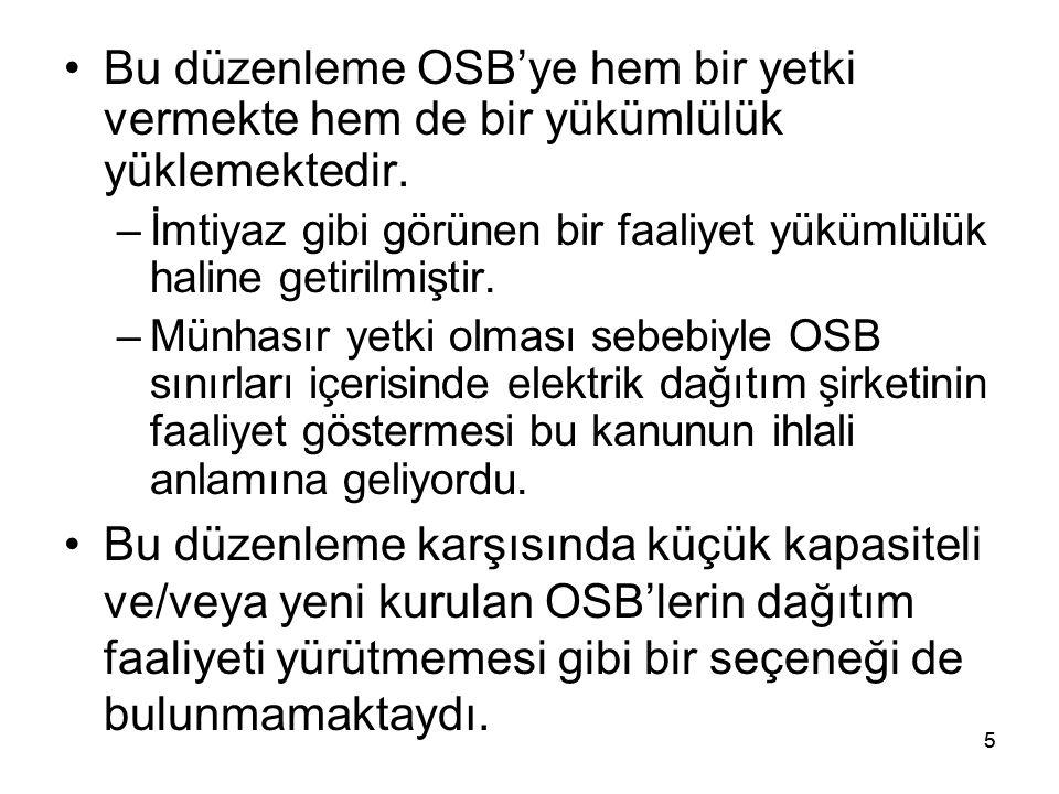 Bu düzenleme OSB'ye hem bir yetki vermekte hem de bir yükümlülük yüklemektedir.