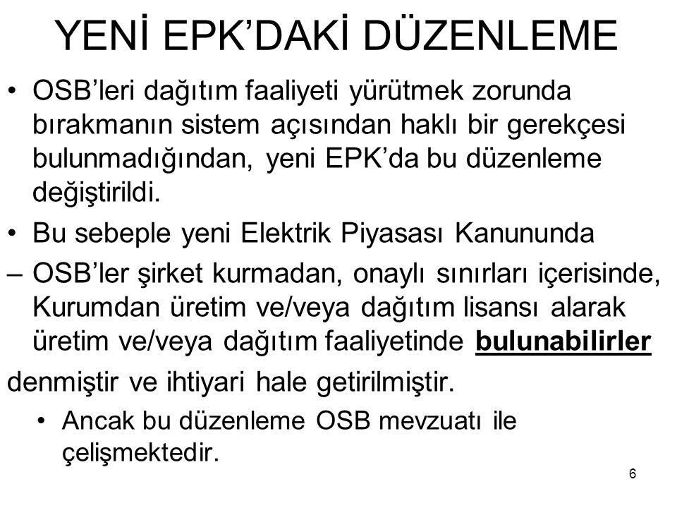 YENİ EPK'DAKİ DÜZENLEME