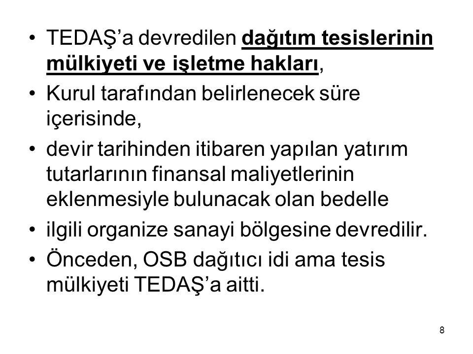 TEDAŞ'a devredilen dağıtım tesislerinin mülkiyeti ve işletme hakları,