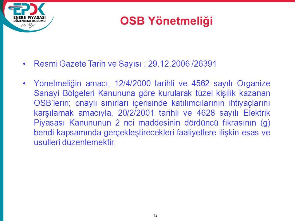 OSB Yönetmeliği Resmi Gazete Tarih ve Sayısı : 29.12.2006 /26391