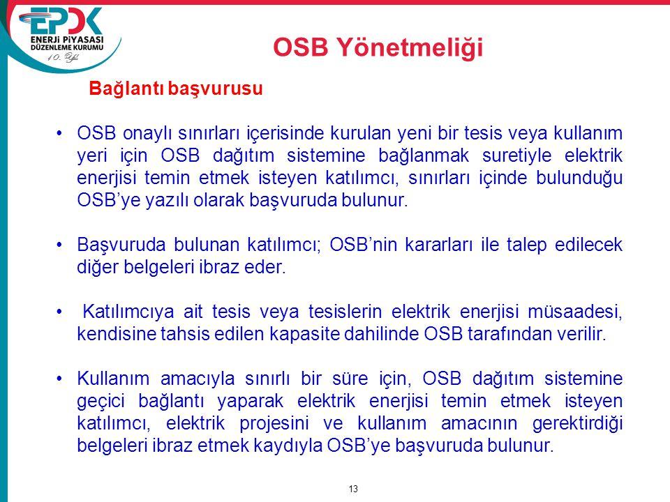 OSB Yönetmeliği Bağlantı başvurusu