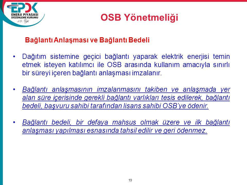 OSB Yönetmeliği Bağlantı Anlaşması ve Bağlantı Bedeli