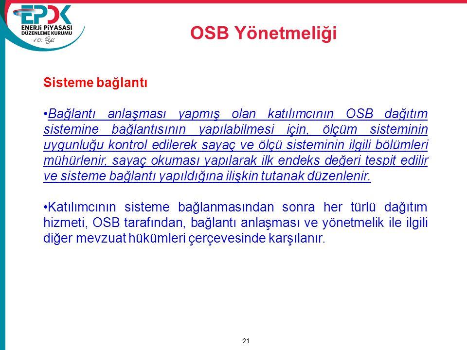 OSB Yönetmeliği Sisteme bağlantı