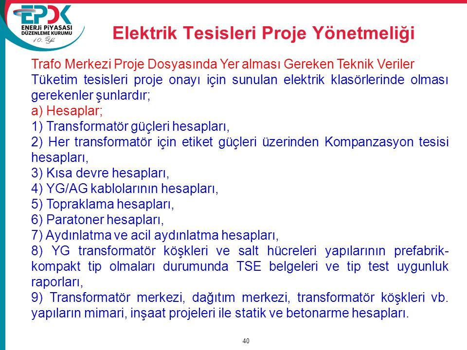 Elektrik Tesisleri Proje Yönetmeliği