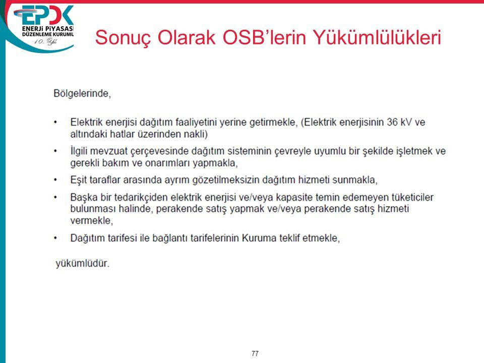 Sonuç Olarak OSB'lerin Yükümlülükleri