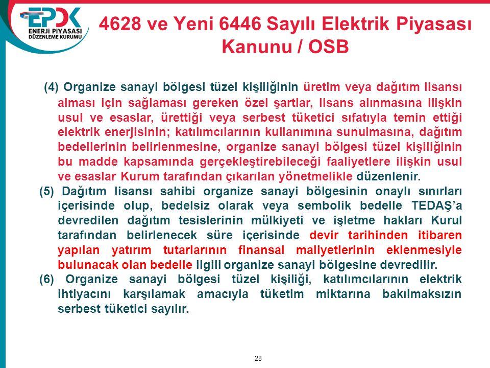 4628 ve Yeni 6446 Sayılı Elektrik Piyasası Kanunu / OSB