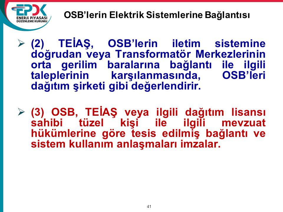 OSB'lerin Elektrik Sistemlerine Bağlantısı