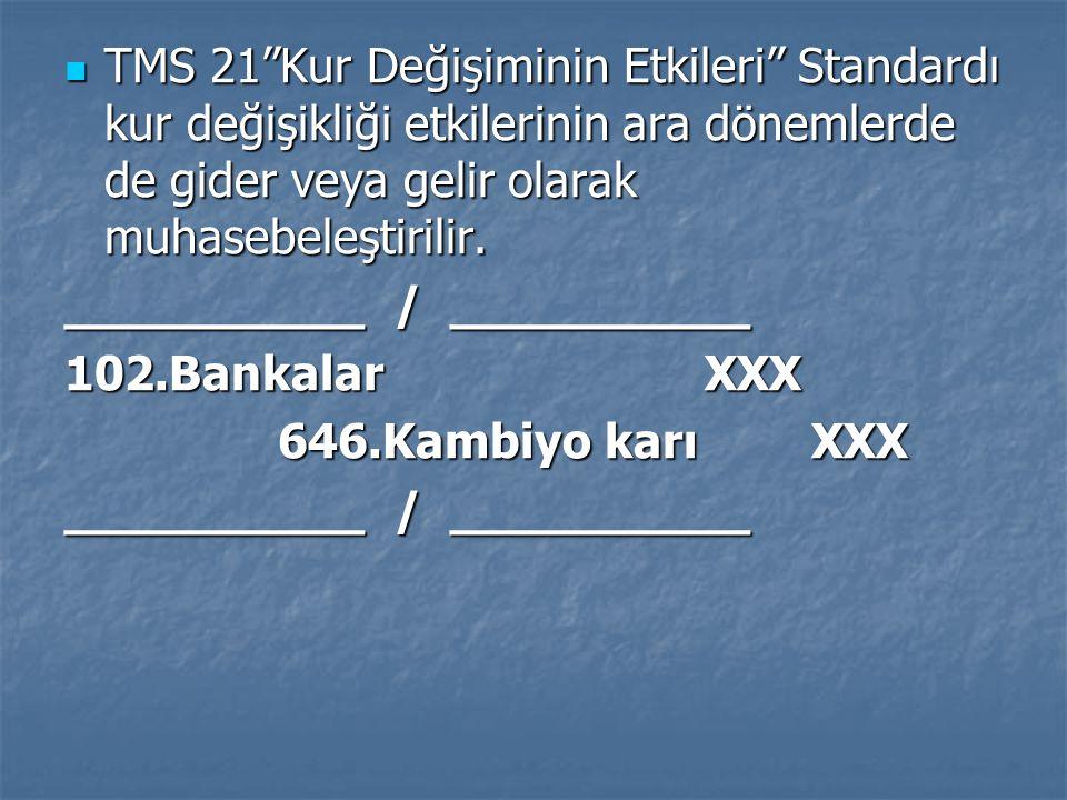TMS 21 Kur Değişiminin Etkileri Standardı kur değişikliği etkilerinin ara dönemlerde de gider veya gelir olarak muhasebeleştirilir.