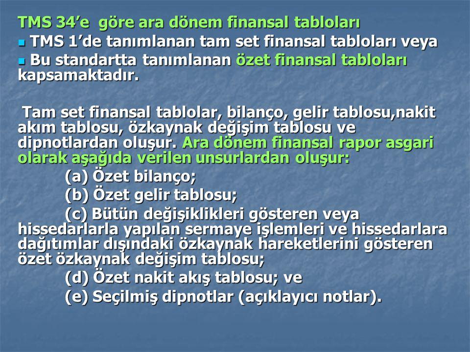 TMS 34'e göre ara dönem finansal tabloları