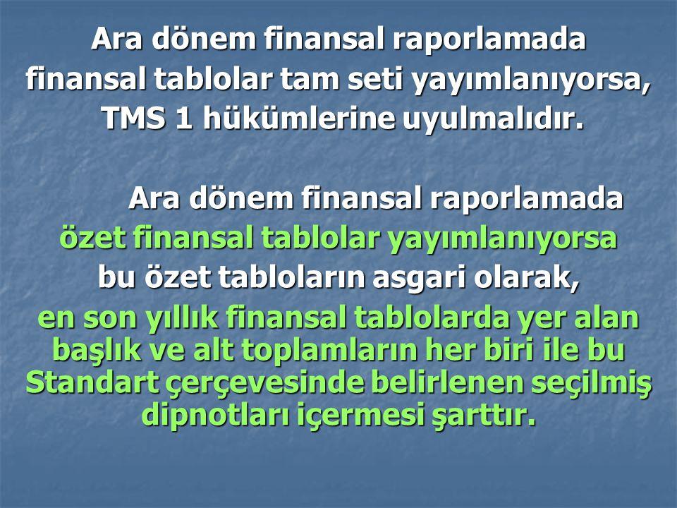 Ara dönem finansal raporlamada