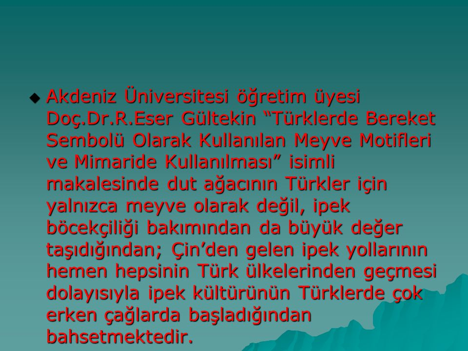 Akdeniz Üniversitesi öğretim üyesi Doç. Dr. R