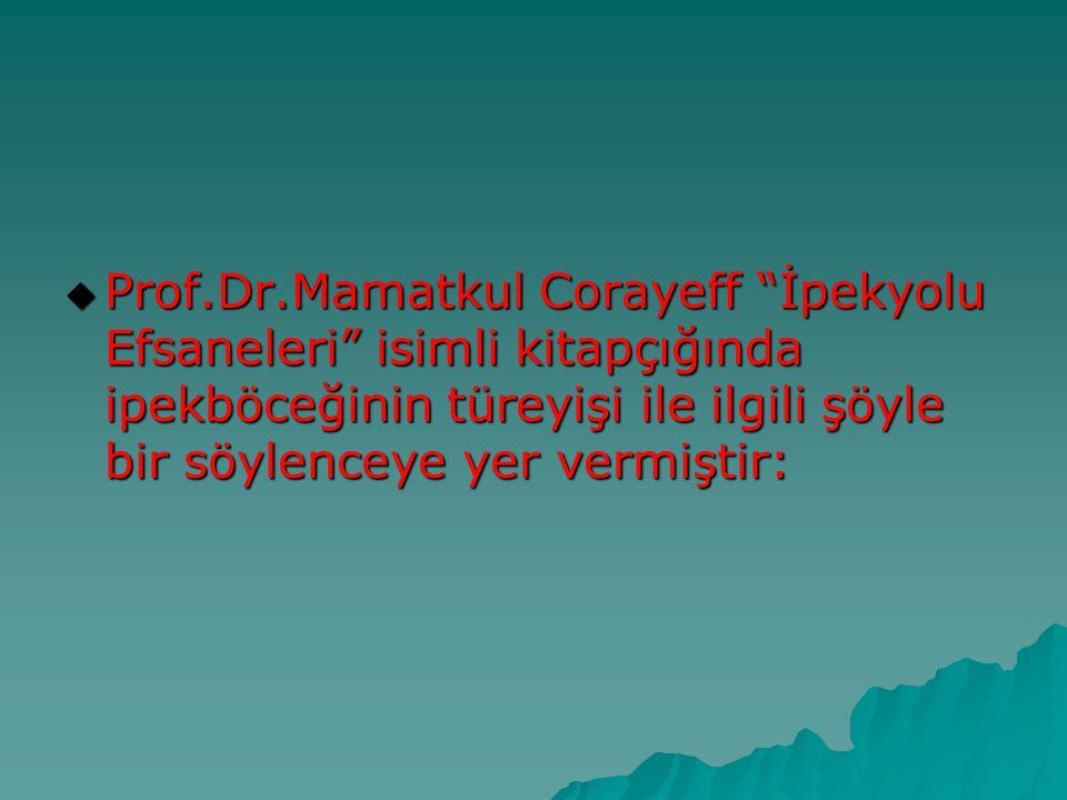 Prof.Dr.Mamatkul Corayeff İpekyolu Efsaneleri isimli kitapçığında ipekböceğinin türeyişi ile ilgili şöyle bir söylenceye yer vermiştir: