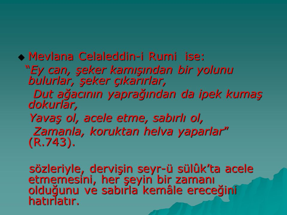 Mevlana Celaleddin-i Rumi ise: